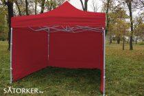 3 x 3 méteres Erős minőségű Mobilsátor Oldalfallal (Piros)